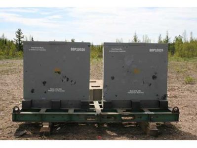 B2WS test panels after two 155mm M107 shell explosions at 40 feet standoff