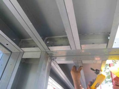 Modular wall and roof panels were easily assembled with structural adhesive and steel screw fasteners, both of which were included with the shelters.