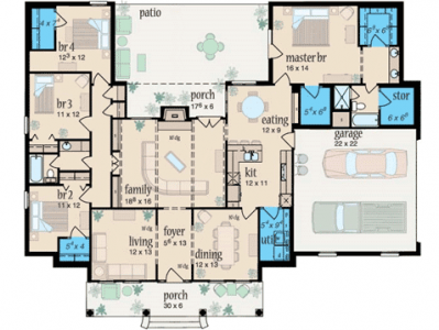 Several potential safe room locations are shown in blue on this plan.  How can a pre-fabricated safe room be installed in one of these insides rooms?