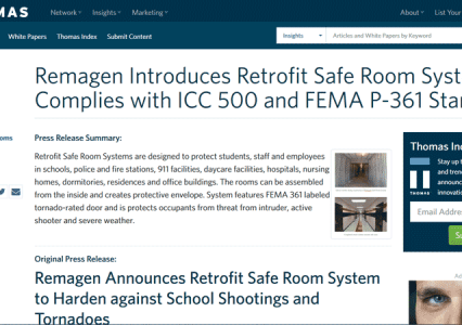 Remagen Announces Retrofit Safe Room Systems to Harden against School Shootings and Tornadoes.
